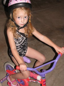 My sweet friend, Maris, in her  early training wheel days.